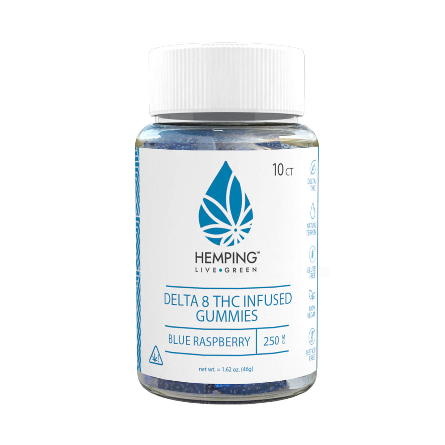 Delta 8 Gummies 250mg (Blue Raspberry) 10ct
