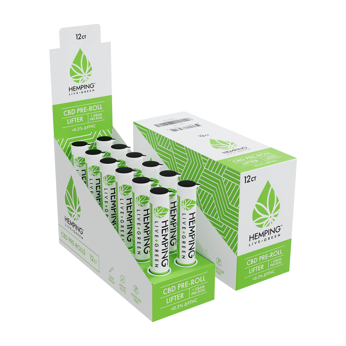 hemping flower cbd pre roll lifter box
