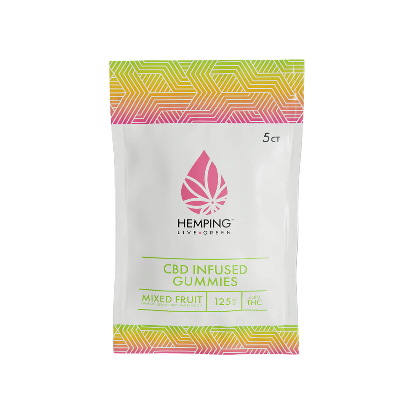 5ct Broad Spectrum CBD Infused Gummies 250mg (Mixed Fruit)