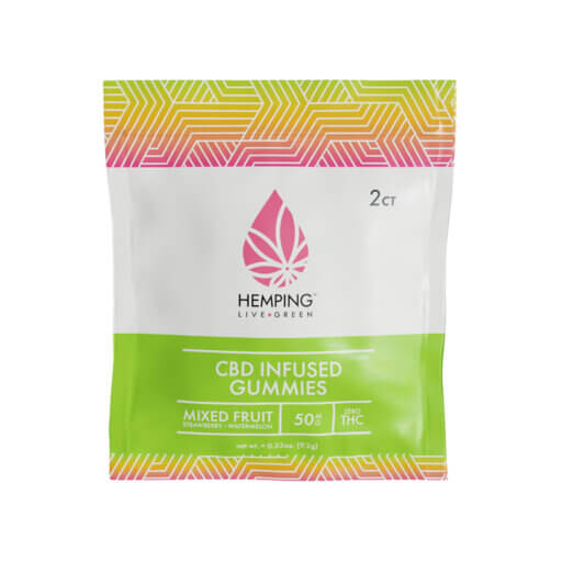 2 ct pouch of Broad Spectrum CBD Infused Gummies 250mg (Mixed Fruit)