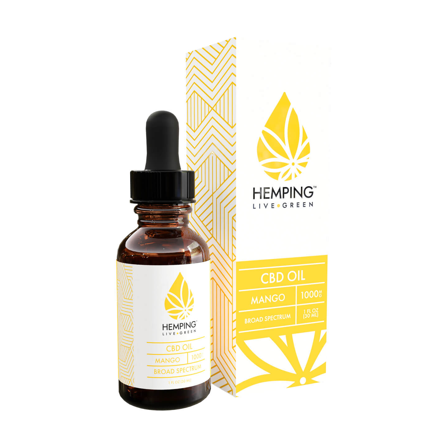 Bottle and box Broad Spectrum CBD oil 1000gm (Mango)